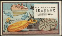 #Jewellery Boss pat. cases, fine jewelry, repairing. Going yet. [front] Date issued: 1870 - 1900 (approx) Physical description: 1 print : chromolithograph ; 7 x 11 cm. Genre: Advertising cards Subject: Men; Ships; Fish; Clocks & watches; Jewelry Notes: Title from item. Retailer: P. A. Freeman, No. 151 Main Street, Biddeford, Maine. Collection: 19th Century American Trade Cards Location: Boston Public Library, Print Department Rights: No known ...