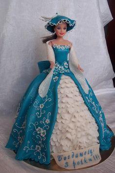 Barbie Cake Barbie Torte, Bolo Barbie, Barbie Cake, Barbie Dress, Princess Dress Cake, Princess Cakes, Doll Birthday Cake, Girl Birthday, Fantasy Cake