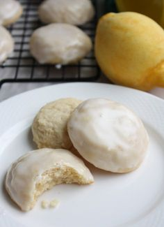 """Iced Lemon Cookies - The Kitchen Paper My new favorite lemon cookie. I think this might be my """"keeper."""" Makes lots, easy to do, no weirdo ingredients. Lemon Curd Dessert, Lemon Desserts, Lemon Recipes, Just Desserts, My Recipes, Sweet Recipes, Baking Recipes, Cookie Recipes, Delicious Desserts"""