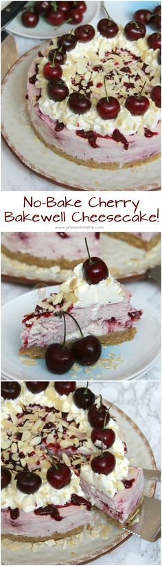 No-Bake Cherry Bakewell Cheesecake! Almond Biscuit Base, Cherry & Almond Bakewell Cheesecake Filling, Whipped Cream, Fresh Cherries, and even more Almond! No Bake Desserts, Delicious Desserts, Dessert Recipes, Yummy Food, Janes Patisserie, Savoury Cake, Sweet Cakes, Cheesecake Recipes, Pie Recipes
