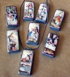 Decoupaged Domino Pendants - how to .... you can leave out the solder and rubNbuff....