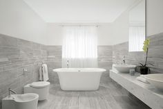 Marmomix Grey porcelain tile in a bathroom scene