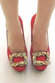 Wheat High Heel Red Shoes