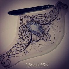 Lace sternum tattoo