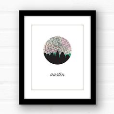 Austin Texas wall art  Austin skyline print  by PaperFinchDesign