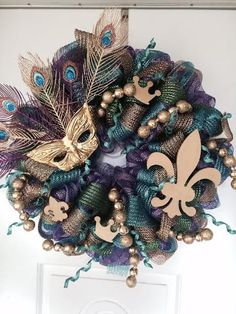 Mardi Gras Wreath Fat Tuesday  Let the Good Times by mahyahyvee