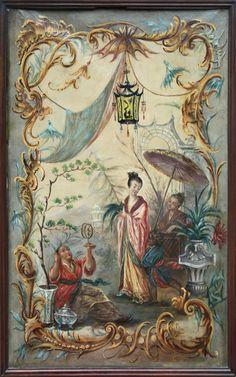 Huile sur toile à décor extrême oriental inspiré des cartons de tapisserie de François Boucher pour la manufacture de Beauvais . #19thcentury. For sale on #Proantic by Galerie P. CLOSTERMANN.