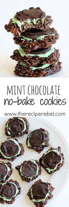 Fudgy Mint Chocolate No-Bake Cookies: Classic chocolate no-bake cookies topped with mint frosting and chocolate ganache -- a twist on my favorite no-bake mint chocolate bars! Perfect for Christmas or a sweet summer treat! http://www.thereciperebel.com