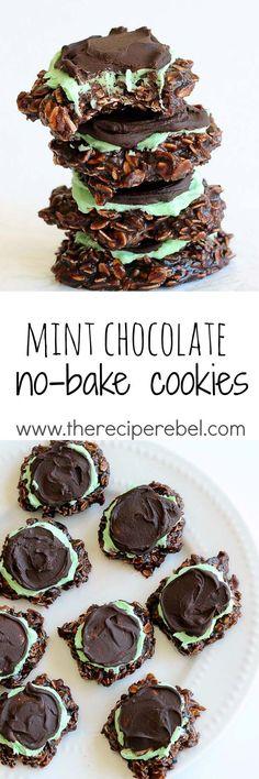 Fudgy Mint Chocolate No-Bake Cookies: Classic chocolate no-bake cookies topped…
