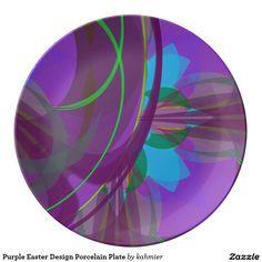 Purple Easter Design Porcelain Plate