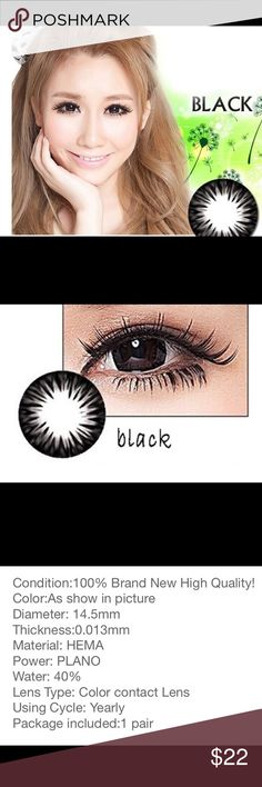 NEW Sterile Black Colored Contact Lens Black brand new, never opened colored contact lens. Can be used for 1 year. See above description. Contains 2 lens. Accessories