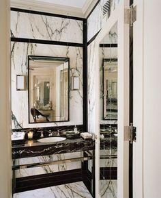 Stone slab bathroom walls trim detail