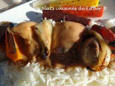 Les plats cuisinés de Esther B: Sauce brune pour brochettes de poulet Sauce Au Poivre, Esther, Barbecue, Pork, Food And Drink, Sauces, Chicken, Brown Sauce, Sweet Sauce