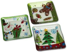 "Hand-painted Holiday Plates - 3 Asst. by Evergreen Enterprises, Inc. $44.99. Handwash only. 8.25""L x 8.25""W x 1.25""H; 8.25""L x 8.25""W x 1.25""H; 8""L x 8""W x 1.25""H. Durable/high quality glass. 3 Assorted. Hand-painted. On Christmas Eve when you leave out cookies for Santa and carrots for his reindeer, shouldn't the plates be as special as the season? These hand-painted dishes are perfect for setting out candy and snacks for your guests all season long. With gingerbread flavor, ..."