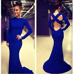 2017 Sexy robe de soiree Evening Gowns High Neck Long Sleeve Criss Cross Backless Royal Blue Mermaid Prom Dresses Custom made Blue Mermaid Prom Dress, Royal Blue Prom Dresses, Pretty Prom Dresses, Mermaid Evening Dresses, Sexy Dresses, Beautiful Dresses, Formal Dresses, Dress Prom, Formal Prom