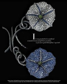 by JAR Paris Blue-and-white morning-glory bracelets of sapphires, diamonds, and garnets. The Jewels Money Can't Buy. photo JOZSEF TARI for Harper's BAZAAR US Sept 2013
