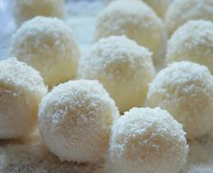 snow white coconut laddu | SUPER easy! - just dessicated coconut and condensed milk. That's it!! | idea: make into laddu cake pops?