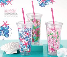 Lilly Pulitzer tumblers in stock at www.ginnymaries.com