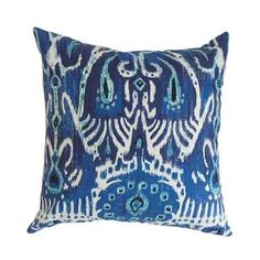 The Pillow Collection Haestings Navy Blue 18 x 18 Ikat Throw Pillow ($58) ❤ liked on Polyvore featuring home, home decor, throw pillows, navy blue home accessories, the pillow collection, navy blue home decor, dark blue throw pillows and navy blue accent pillows