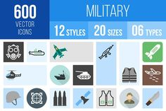 600 Military Icons by IconBunny on @creativemarket