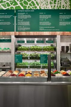 sweetgreen eco eateriy by Core Architecture, Bethesda Maryland restaurant… Greens Restaurant, Restaurant Bar, Healthy Restaurant Design, Salad Bar Restaurants, Salad Shop, Food Retail, Little Lunch, Fruit Shop, Restaurant Concept