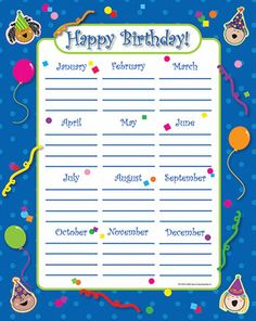 Happy Birthday Stick Kids Classroom Essentials Chart $2.49