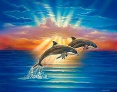 Diamond Painting Two Dolphins in the Sun Rays Kit Dolphin Painting, Dolphin Art, Ocean Art, Ocean Life, Seascape Paintings, Animal Paintings, Dolphins Tattoo, Water Animals, Wale