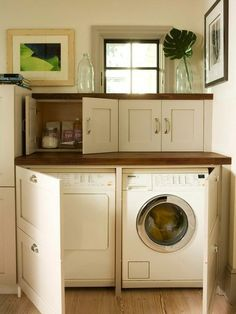 "Wow!  I have never seen a laundry room / area where the appliances are ""hidden"" by cabinetry (must use front-load models) love this!"