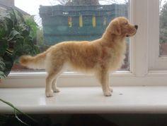 Needle felted 3D Golden Retriever dog