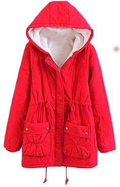Hajotrawa Mens Juniors Hooded Fleece Overcoat Puffer Wool Lined Parkas Coats Jacket