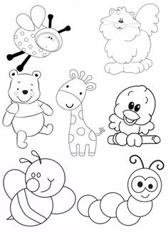 Art Drawings For Kids, Doodle Drawings, Drawing For Kids, Easy Drawings, Animal Drawings, Doodle Art, Art For Kids, Animal Coloring Pages, Colouring Pages