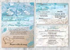 Beach Wedding Invitations, Starfish Wedding Invitation, Beach Theme Ocean Themed Invitation, Wedding Beach Invitation Sand Heart Invitations by newyorkinvitations on Etsy