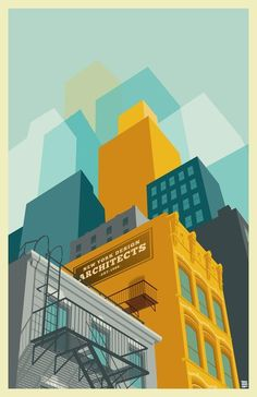 Colorful NYC Art Prints by Remko Heemskerk Like the treatment on the buildings. NYC Art Prints by Remko Heemskerk Like the treatment on the buildings.Like the treatment on the buildings. Gravure Illustration, Illustration Art Nouveau, Building Illustration, City Illustration, Graphic Design Illustration, Digital Illustration, Graphic Art, Halloween Illustration, Vector Illustrations