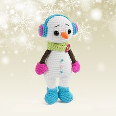 Crochet the toy today with our Cuddle Me Snowman Amigurumi Pattern! Online version of snowman amigurumi pattern is FREE! Christmas Crochet Patterns, Crochet Toys Patterns, Amigurumi Patterns, Stuffed Toys Patterns, Amigurumi Doll, Crochet Dolls, Bobble Stitch, Crochet Basics, Cute Crochet