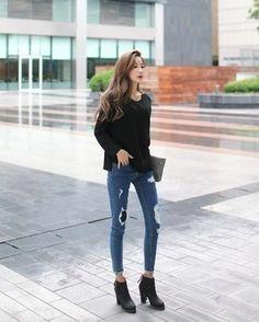 Estilo Black K-Fashion K Fashion, Ulzzang Fashion, Korea Fashion, Cute Fashion, Autumn Fashion, Fashion Outfits, Womens Fashion, Fashion Design, Ulzzang Style