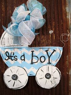 Its A Boy Carriage Door Hanger by WiredupbyMellie on Etsy, $47.00