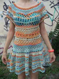 Colourfull crochet dress by O R I M O N O :) How do you like it? :) http://facebook.com/orimono.reczna.praca.awaryjna