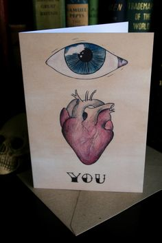 Bunch of Fives 'Eye Heart You.' Greeting card.  #Traditional #Tattoo #Love #Danse #Macabre  All designs copyright Alice Durose © MMXIV
