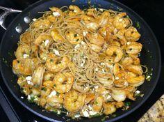 Cajun Shrimp and Feta over Pasta
