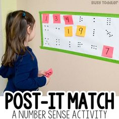 Post-It Number Match Math Activity - Busy Toddler Need a great math activity? Try this Post-It Number Match game to get kids moving! A great preschool math activity; number sense activity from Busy Toddler. Educational Activities For Preschoolers, Numeracy Activities, Preschool Learning Activities, Counting Activities For Preschoolers, Early Childhood Activities, Counting Games, Leadership Activities, Skip Counting, Preschool Education