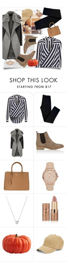 """""""Fall outfit  #3"""" by kawaii-02 ❤ liked on Polyvore featuring J Brand, River Island, Barneys New York, Prada, Burberry, Links of London, tarte and American Needle"""