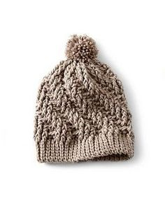 Highly textured, and also easy to complete, this Stepping Texture Hat is crocheted in Bernat Softee Chunky.