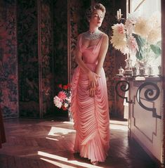 emilygracey:  Grace Kelly wearing a pink silk Jean Desses gown
