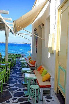 Seaside cafe, Mykonos Greece My boys are Greek so this is definitely on the list! Places Around The World, Oh The Places You'll Go, Places To Travel, Places To Visit, Dream Vacations, Vacation Spots, Wonderful Places, Beautiful Places, Voyager C'est Vivre