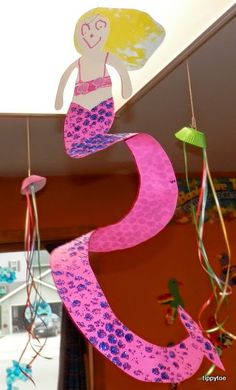 This is the first mermaid craft I've ever done with my kids and I love how it turned out!    I had three inspirations that I combined to mak...