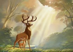 Bambi and his father, The Great Prince.