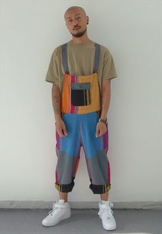 NEW 90S BOHO STYLE SHORT PATCHWORK DUNGAREES