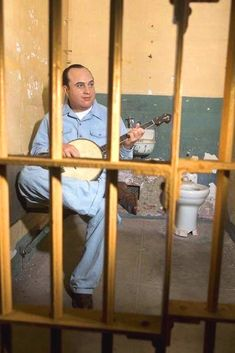 Rare Color Photo of Al Capone playing Banjo in Prison William Faulkner, Lewis Carroll, Al Capone, Big Rig Trucks, Play S, Oldies But Goodies, Yesterday And Today, Banjo, Guitar