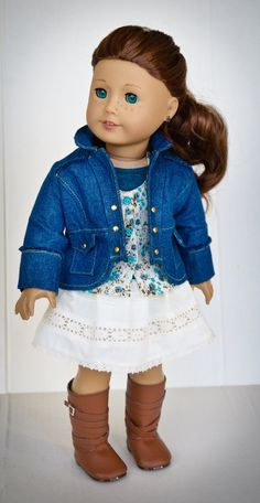 Denim Boomerit Jacket, Skirt, Top & Tee for American Girl dolls by AnnasGirls on Etsy $65.00