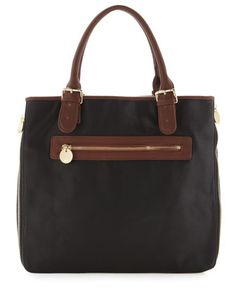 Expandable Besom-Side Tote,Black/Brown by Neiman Marcus at Last Call by Neiman Marcus.